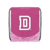 Nylon Zebra Pink/White Patterned Drawstring Backpack-Dartmouth D
