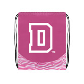 Nylon Zebra Pink/White Patterned Drawstring Backpack-Primary Mark
