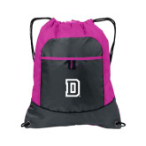 Nylon Pink Raspberry/Deep Smoke Pocket Drawstring Backpack-Dartmouth D