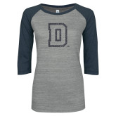 ENZA Ladies Athletic Heather/Navy Vintage Baseball Tee-Primary Mark Graphite Soft Glitter