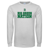 White Long Sleeve T Shirt-Big Green Nation