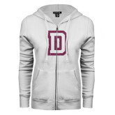 ENZA Ladies White Fleece Full Zip Hoodie-Dartmouth D Pink Glitter