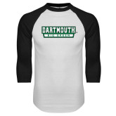 White/Black Raglan Baseball T Shirt-Dartmouth Big Green