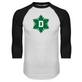 White/Black Raglan Baseball T Shirt-D Snowflake