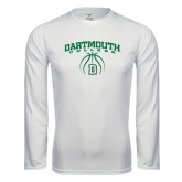 Syntrel Performance White Longsleeve Shirt-Dartmouth College Basketball Arched w/ Ball