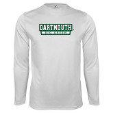 Performance White Longsleeve Shirt-Dartmouth Big Green