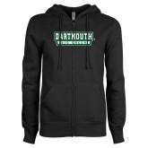 ENZA Ladies Black Fleece Full Zip Hoodie-Dartmouth Big Green