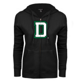ENZA Ladies Black Fleece Full Zip Hoodie-Dartmouth D