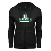 ENZA Ladies Black Fleece Full Zip Hoodie-D Dartmouth Stacked