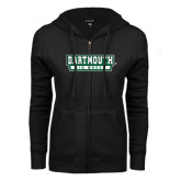 ENZA Ladies Black Fleece Full Zip Hoodie-Dartmouth Big Green