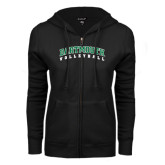 ENZA Ladies Black Fleece Full Zip Hoodie-Volleyball