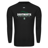 Under Armour Black Long Sleeve Tech Tee-Dartmouth Baseball Stacked