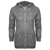 ENZA Ladies Grey/Black Marled Full Zip Hoodie-Dartmouth D