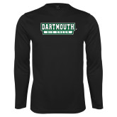 Performance Black Longsleeve Shirt-Dartmouth Big Green