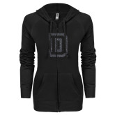 ENZA Ladies Black Light Weight Fleece Full Zip Hoodie-Dartmouth D Graphite Glitter