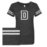 ENZA Ladies Black/White Vintage Triblend Football Tee-Dartmouth D White Soft Glitter