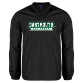 V Neck Black Raglan Windshirt-Dartmouth Big Green