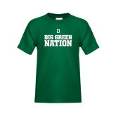 Youth Dark Green T Shirt-Dartmouth Big Green Stacked Stripes