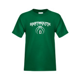 Youth Dark Green T Shirt-Dartmouth College Basketball Arched w/ Ball
