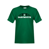 Youth Dark Green T Shirt-Dartmouth Basketball Half Ball