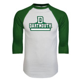 White/Dark Green Raglan Baseball T-Shirt-D Dartmouth Stacked