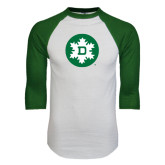 White/Dark Green Raglan Baseball T-Shirt-Dartmouth Ski