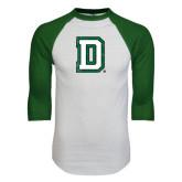 White/Dark Green Raglan Baseball T-Shirt-Distressed Dartmouth D