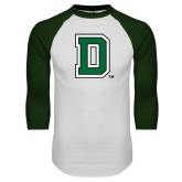 White/Dark Green Raglan Baseball T Shirt-Primary Mark