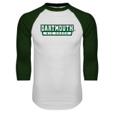 White/Dark Green Raglan Baseball T Shirt-Dartmouth Big Green