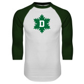 White/Dark Green Raglan Baseball T Shirt-D Snowflake
