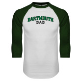 White/Dark Green Raglan Baseball T Shirt-Dad