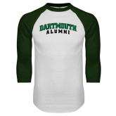 White/Dark Green Raglan Baseball T Shirt-Alumni