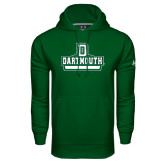 Under Armour Dark Green Performance Sweats Team Hood-D Dartmouth Stacked