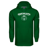 Under Armour Dark Green Performance Sweats Team Hood-Dartmouth College Basketball Arched w/ Ball