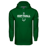 Under Armour Dark Green Performance Sweats Team Hood-Dartmouth Softball Stencil