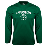 Syntrel Performance Dark Green Longsleeve Shirt-Dartmouth College Basketball Arched w/ Ball