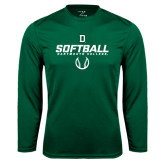 Syntrel Performance Dark Green Longsleeve Shirt-Dartmouth Softball Stencil