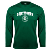 Syntrel Performance Dark Green Longsleeve Shirt-Dartmouth Volleyball Abstract Ball