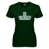Ladies Dark Green T Shirt-D Dartmouth Stacked