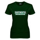 Ladies Dark Green T Shirt-Dartmouth Big Green
