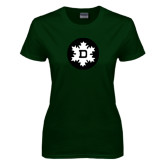 Ladies Dark Green T Shirt-Dartmouth Ski