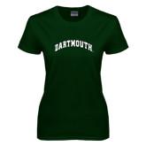 Ladies Dark Green T Shirt-Arched Dartmouth