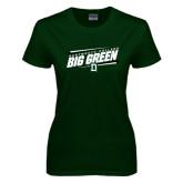Ladies Dark Green T Shirt-Slanted Dartmouth Big Green