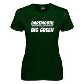Ladies Dark Green T Shirt-Dartmouth Big Green Stacked Stripes