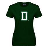 Ladies Dark Green T Shirt-Distressed Dartmouth D