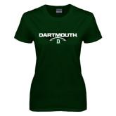 Ladies Dark Green T Shirt-Dartmouth Football Flat