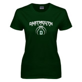 Ladies Dark Green T Shirt-Dartmouth College Basketball Arched w/ Ball
