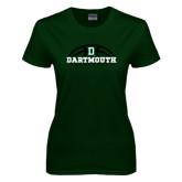 Ladies Dark Green T Shirt-Dartmouth Basketball Half Ball