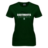 Ladies Dark Green T Shirt-Dartmouth Baseball Stacked