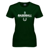 Ladies Dark Green T Shirt-Dartmouth Baseball Stencil